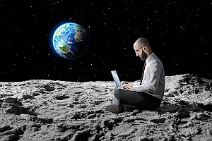 a man working on the moon representing remote connection