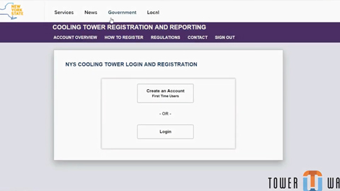 how to update cooling tower information in the New York State portal