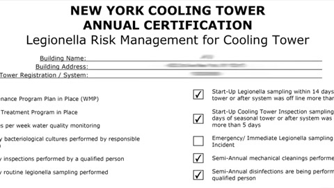 NYC weekly cooling tower inspection checklist