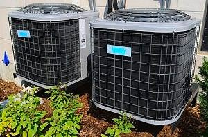 two HVAC units containing specialty pipes
