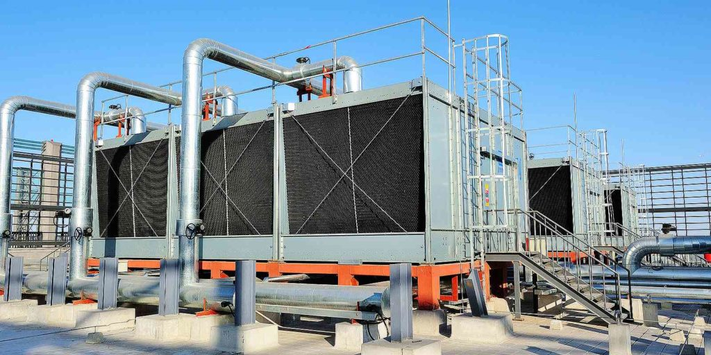 A Cooling Tower Water Treatment System on a rooftop