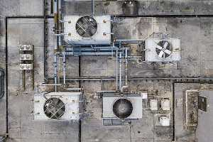 Top view of Cooling tower treatment in building roof top