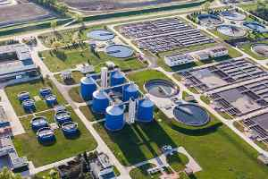 An aerial view of water treatment facility. Testing for Legionella is an important for any water treatment facility