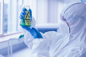 Expert from HVAC water treatment company examining hazardous chemicals