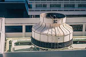 Rooftop cooling tower system in New York City. Legionella is a bacteria that thrives in freshwater