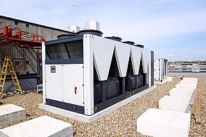 a commercial HVAC system on top of a building in New York City