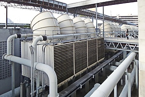 cooling towers that are being inspected for compliance