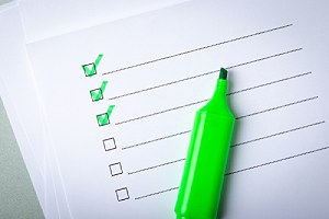Check list and green marker. Green cleaning options for cooling tower