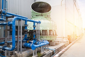 cooling tower with pipe system in factory