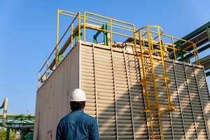 man operation at cooling tower