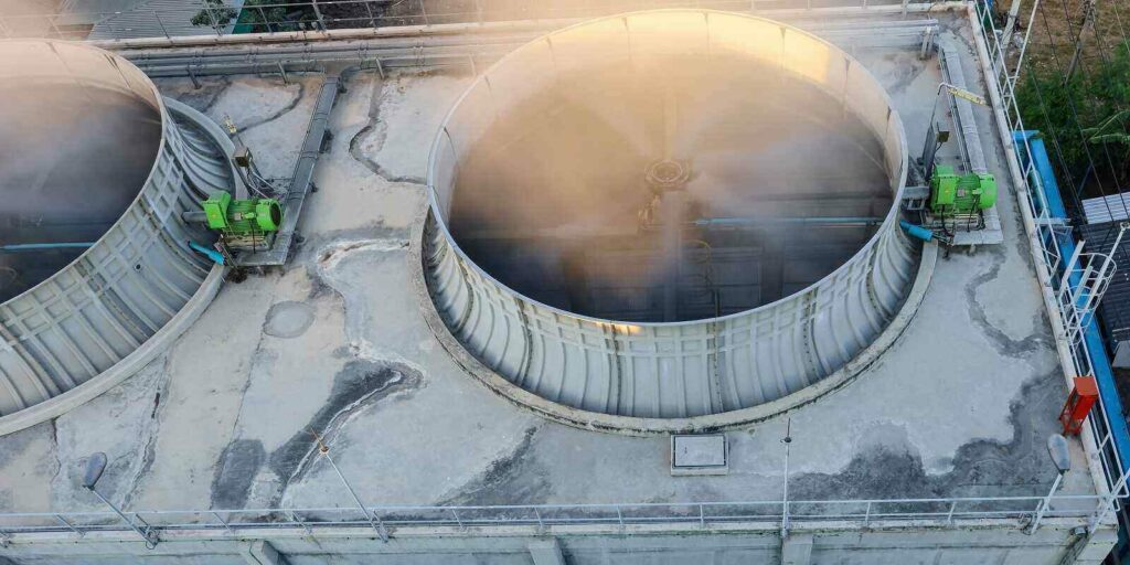 top view of cooling tower building nyc local law 77