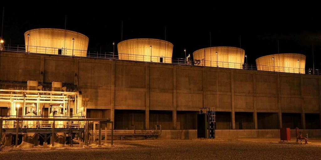 cooling tower building with spot light and pump station