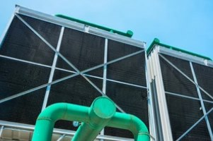 green cooling towers on the building