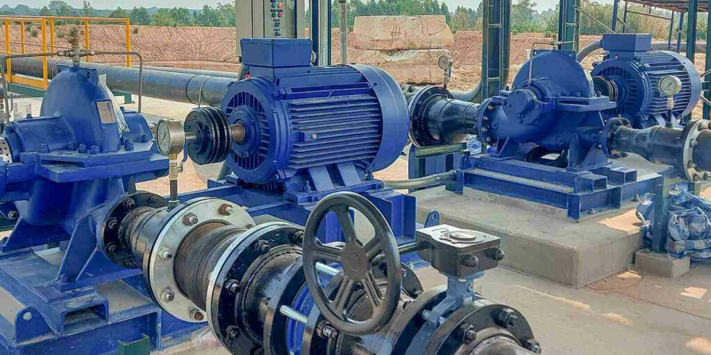 electric motors driving water pumps of water system