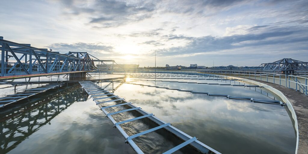 recirculation process in Water Treatment plant with sunrise