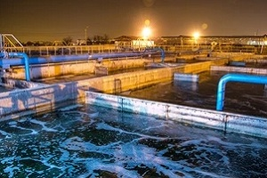 water treatment plant in night